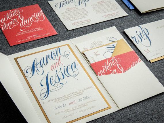 زفاف - Coral and Navy Wedding Invitations, Script Invitations, Modern Invitations, Salmon, Gold, Sweeping Script - Pocketfold, 1 Layer, v1 - SAMPLE