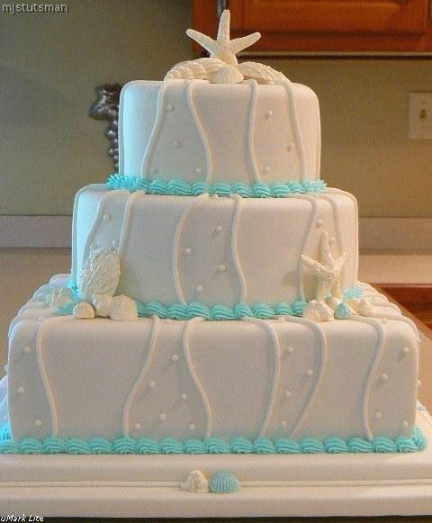 Blue Seashell Wedding Cake Seashells Ocean Beach