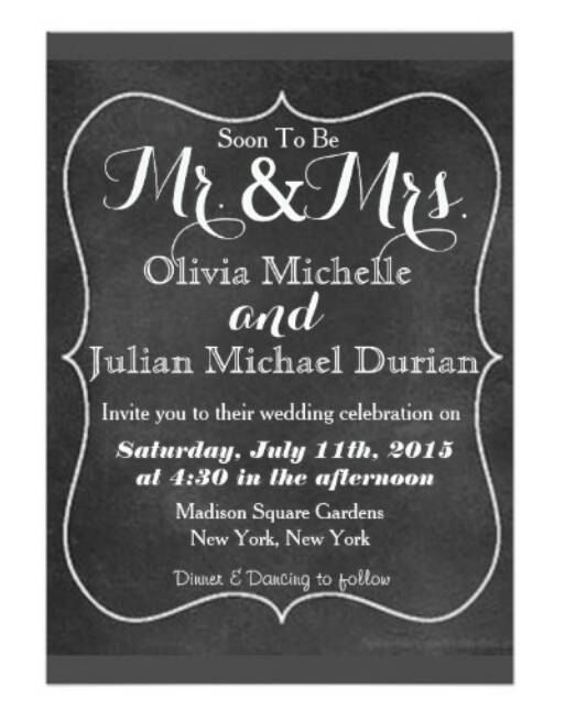 Hochzeit - Olivia: Chalkboard Design Theme Modern Wedding Invitation Suite RSVP Black And White Fancy Non Traditional Unique