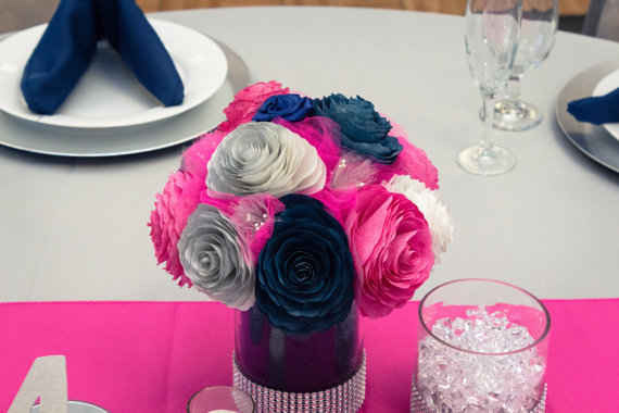 Navy Blue Hot Pink And Silver Wedding Table Centerpieces Reception