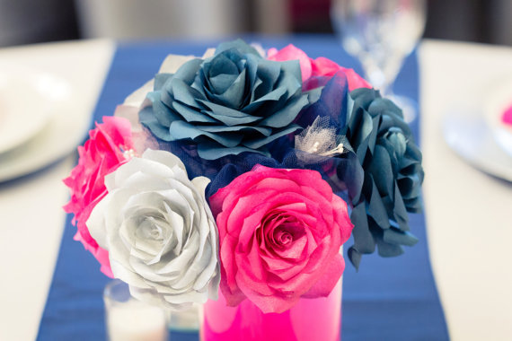 Navy Blue Hot Pink And Silver Wedding Table Centerpieces Reception Decor Bridal Shower Baby