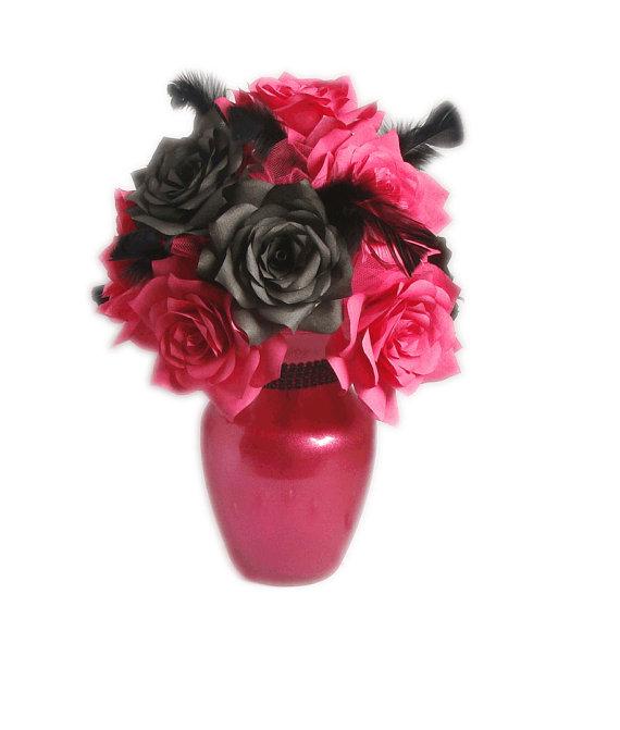 Pink And Black Wedding Centerpiece Hot Pink Bridal Decor Hot Pink Quinceanera Decor Fake Flower Decor Home Decor Paper Flower Decor