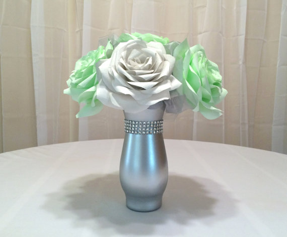 mint green wedding centerpiece bridal table centerpiece reception decor bridal shower decor baby shower decor silver wedding decor