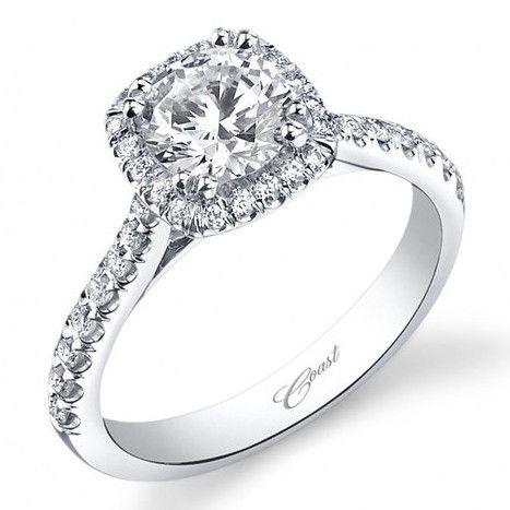 Свадьба - Coast Cushion Halo Prong Set Diamond Engagement Ring 14K White Gold With 0.35 Carat Diamonds