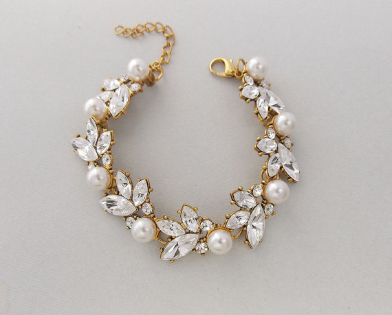 Wedding Bracelet Gold Bridal Swarovski Crystals Pearls Leaf Pearl Crystal Claudia