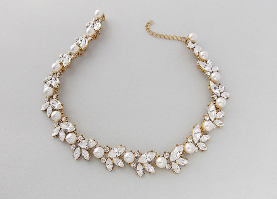 liona in gold swarovski products bridal large handmade necklace olini pearls