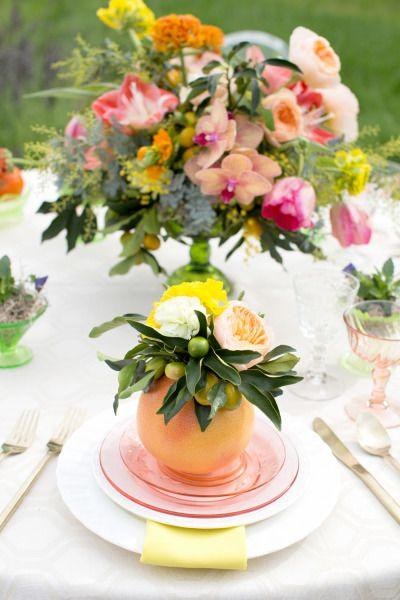 Mariage - DIY Citrus Floral Centerpiece