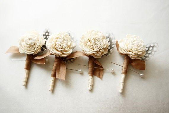 Wedding - Rustic Ivory Rose Boutonniere, Woodland Wedding, Ivory Flower, Groomsmen - BLOSSOM
