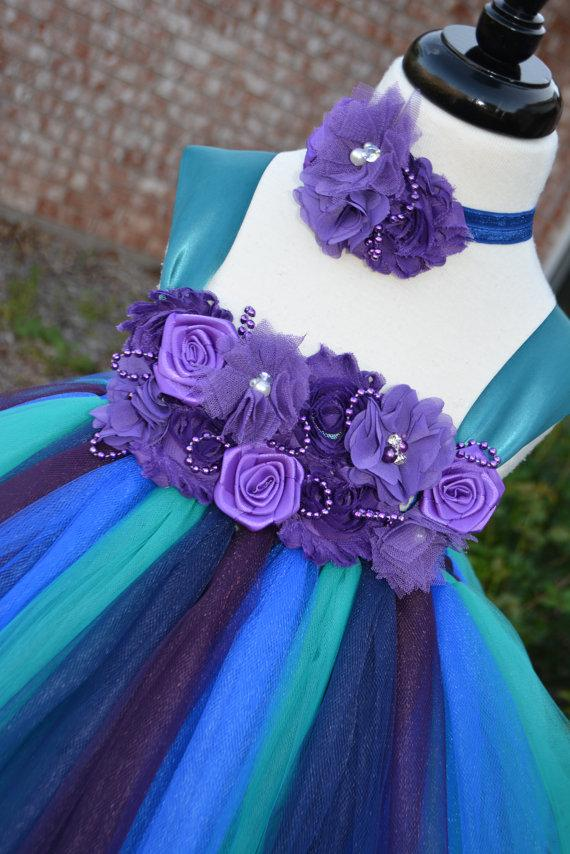 190333ba5 Peacock color dress without feather, peacock teal tutu dress, peacock  wedding, peacock flower girl dress without feather, blue and purple