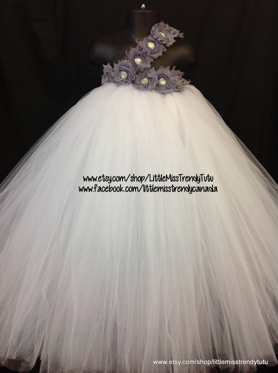 Wedding - One Shoulder White Flower Girl Tutu Dress with Silver Floweres, White Tutu Dress, Flower Girl Dress, Birthday Party Dress, White Tulle Dress