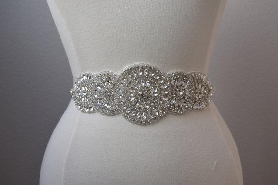 Crystal Rhinestone Bridal Belt On Satin Sash Thick Bridal Belt