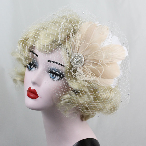 Mariage - Bridal Veil, Ivory White, Champagne Feather Fascinator, Birdcage Veil, Crystal Headpiece, Crystal Veil, 1920s Flapper