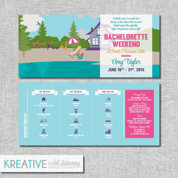 زفاف - Lake Bachelorette Invitation with Itinerary - Personalized Printable File or Print Package - Lakehouse Bachelorette #00086-PI10