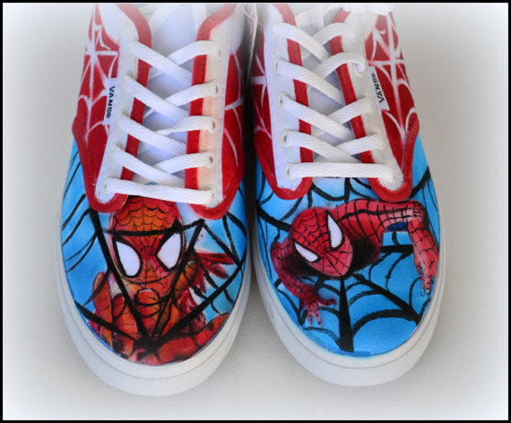 Mariage - Custom Womens Shoes, Womens Vans, Womens Generic Shoes, Wedding Shoes, Painted Superhero Shoes, Painted Canvas Shoes, Spiderman, Bridal