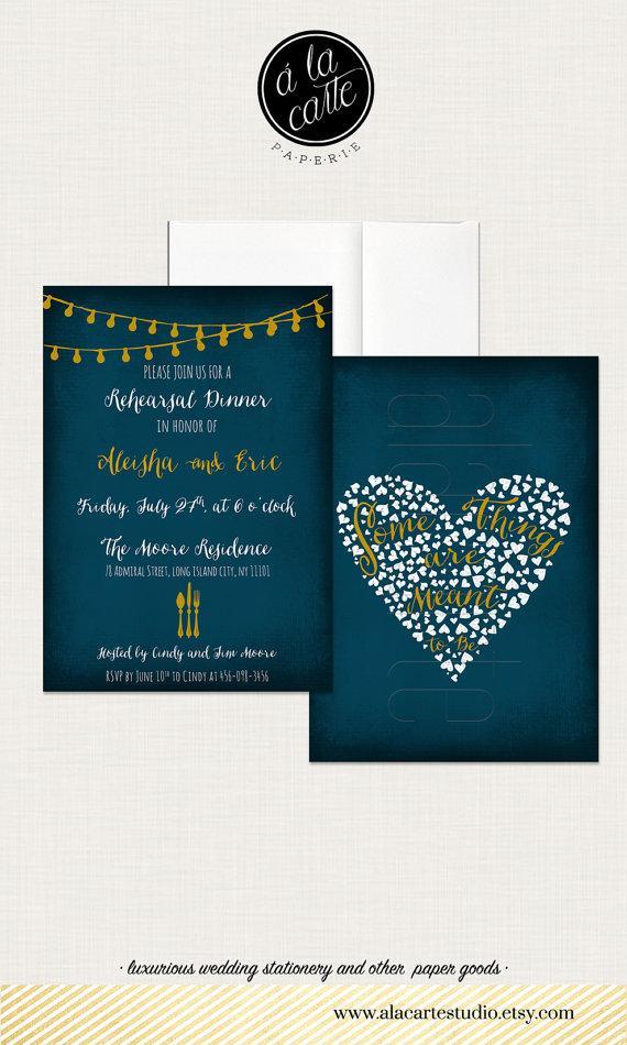 زفاف - String Light Navy Blue Chalkboard Wedding Rehearsal Dinner Invitation Card