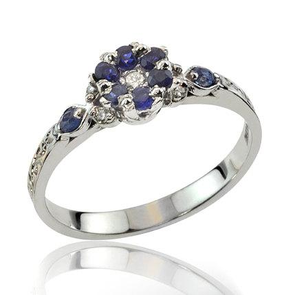 Mariage - Sapphire Ring, Sapphire Engagement Ring, Elegant Floral Sapphire Diamond Engagement Ring, Sapphire Jewelry, 18K Gold, Wedding Ring
