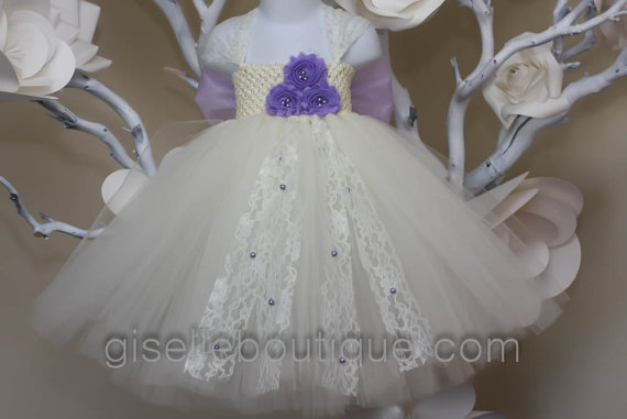 Wedding - Flower girl dress. Ivory and Lavender TuTu Dress. baby tutu dress, toddler tutu dress, wedding, birthday. BOW not included.