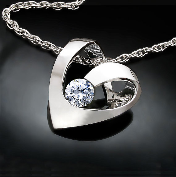 Mariage - heart necklace - Valentine's Day - silver necklace - Argentium silver - wedding - mother's day - cz - modern jewelry - 3401