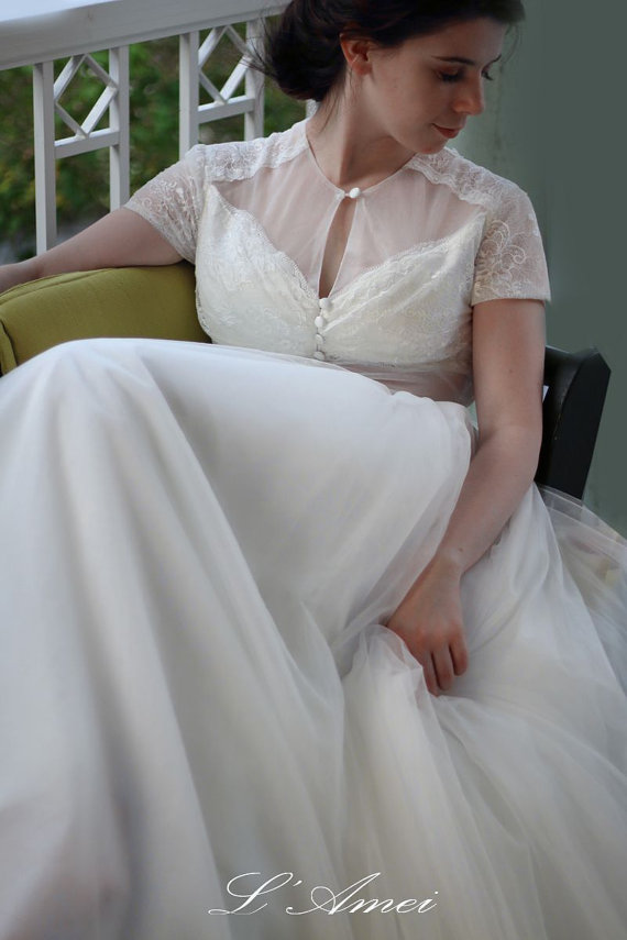 Wedding - Romantic Sexy Deep V Design Wedding Dress with Sheer Soft Lace Top  Woodland Bridal Gown with Short Sleeves - YS18968030