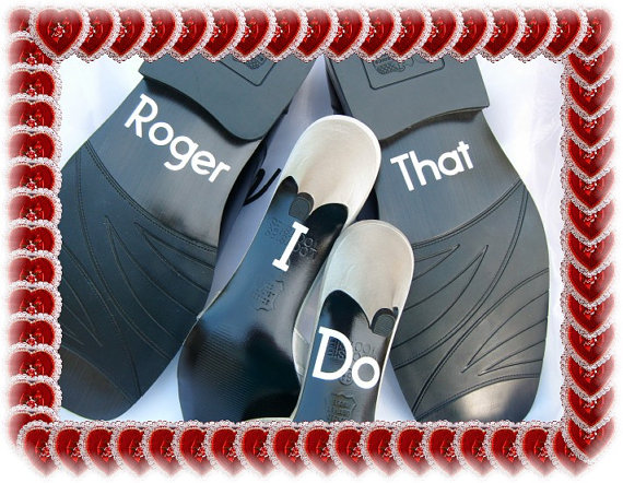Mariage - Wedding Shoe Stickers - Police Wedding - I Do Roger That - Free Shipping - Stickers