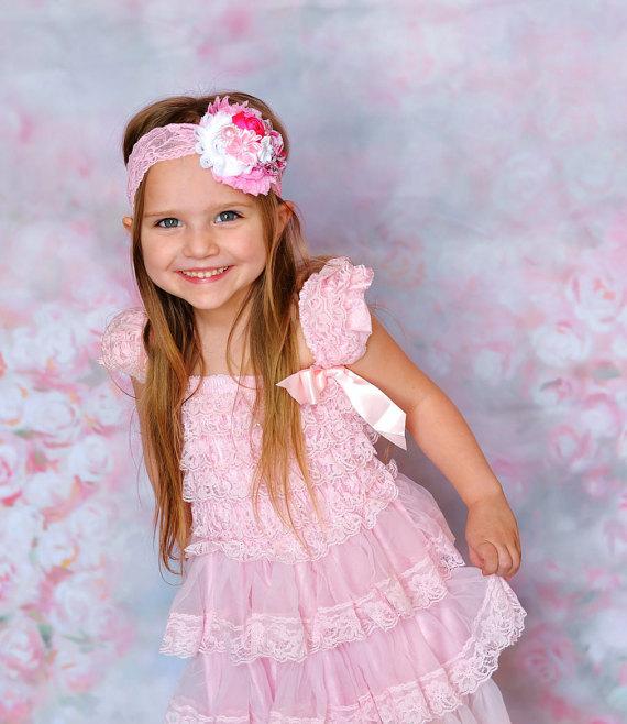 Wedding - Spring lace dress headband SET, pink Toddler Dress,pink baby dress,Flower girl dress,First/1st Birthday Dress,girls photo outfit