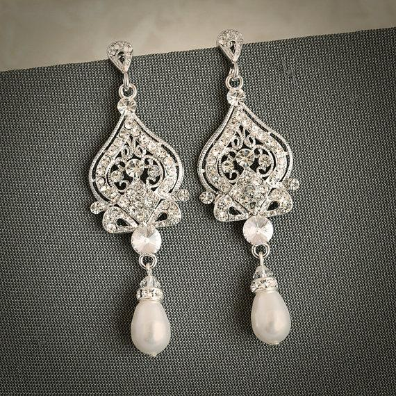Mariage - GRACE, Vintage Inspired Wedding Bridal Earrings, White, Ivory Pearl and Rhinestone Chandelier Wedding Earrings, Hollywood Glamour Jewelry