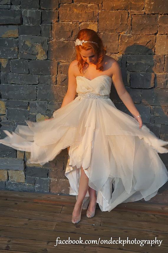 Wedding - RCB CUSTOM draped bodice uneven hem chiffon wedding dress
