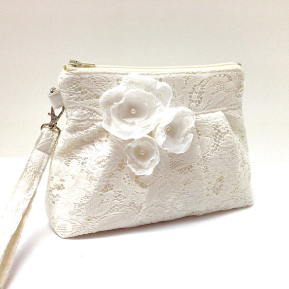 Mariage - Wedding Clutch Purse Zippered Wristlet Ivory Cream Lace with Flowers