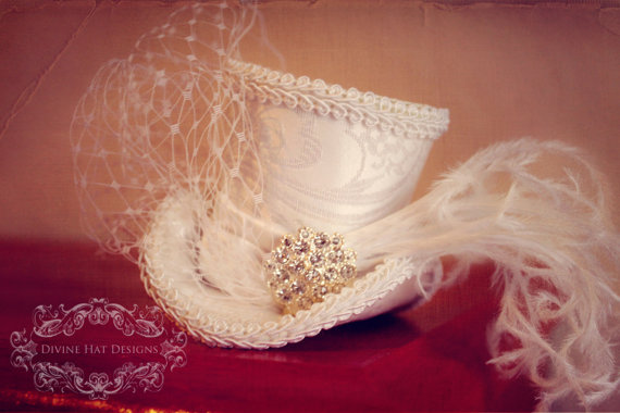 Wedding - Tiny Bridal Mini Top Hat -- First Communion, Baptism, Wedding -- Flower Girl, Birthday -- Tea Party
