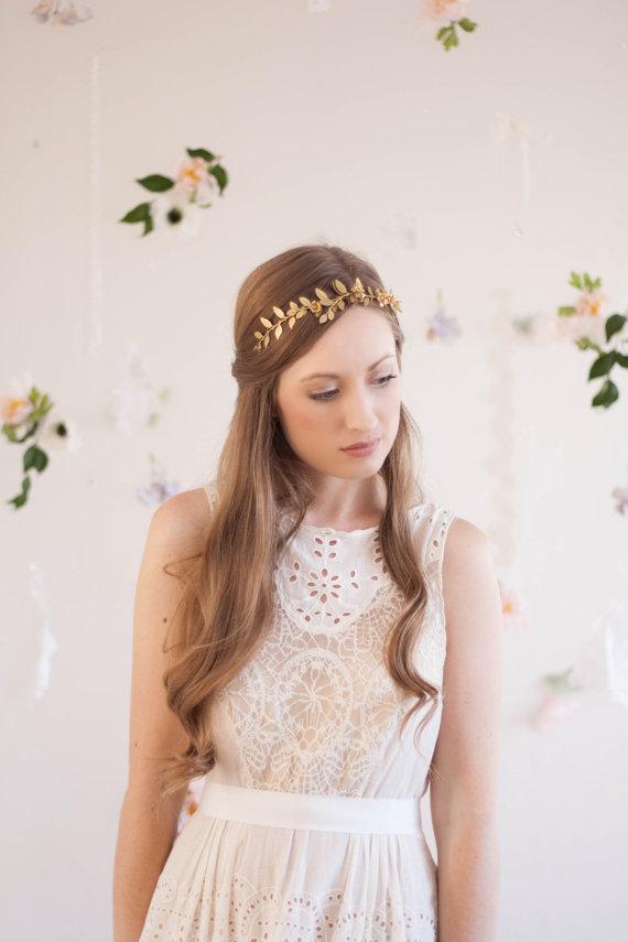 Mariage - Climbing Vine Headband, Gold Tiara, Leaf Halo, Gold Leaf Headpiece, Leaf Hair Accessory, bridal tiara, Leaf Headband, Woodland, boho #118