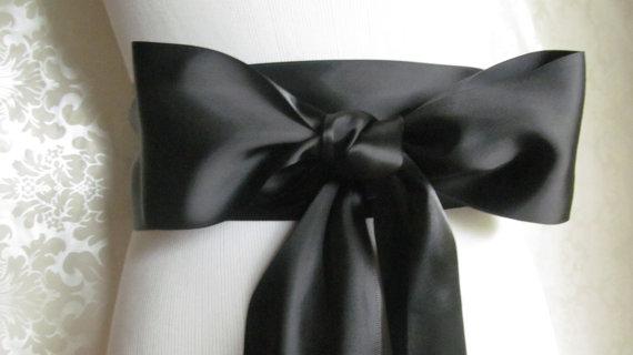 Mariage - Black Satin Ribbon Sash / Ribbon Sash / Satin Bridal Sash /  Bridesmaid Sash / Black