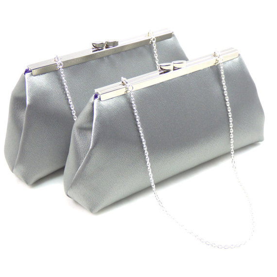 Mariage - Set Of Two Bridesmaid Clutches, Steel Grey And Blackberry Purple Bridesmaid Gift, Bridal Clutch, Mother Of The Bride Gift, Wedding Clutch