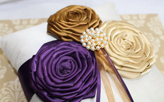 Ring pillow ring bearer pillow ivory ring pillow purple and gold ring pillow ring bearer pillow ivory ring pillow purple and gold wedding flower girl basket custom colors available junglespirit Image collections