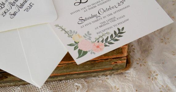 زفاف - Hand Painted Floral Wedding Invitation with Mix of Pastel Flowers & Hand Written Calligraphy