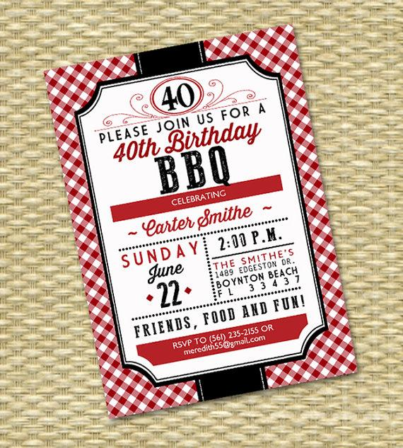 زفاف - 40th Birthday Invitation Birthday BBQ Adult Milestone Birthday I Do BBQ Wedding Shower Couples Shower Red Gingham Rustic Country, Any Event