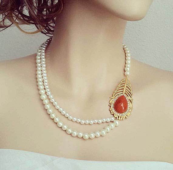 زفاف - Pearl Wedding Necklace Gold Leaf Brooch Rhinestone Bridal Necklace Golden Brown Drop Stone Necklace Wedding Jewelry