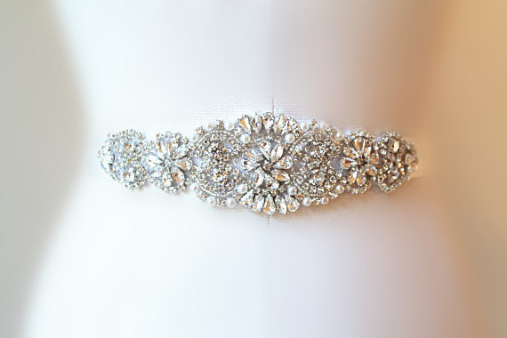 Mariage - BIG SALE AVA  Wedding Belt, Bridal Belt, Sash Belt, Crystal Rhinestones & Pearls