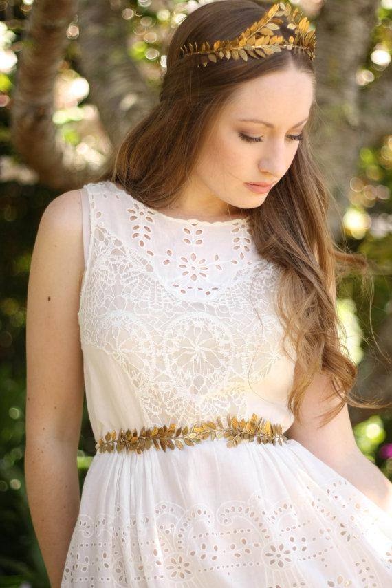 Свадьба - Laurel Leaf Sash, Wedding Sash, Bridal Belt, Gold Silver Leaf Sash, Leaf belt, Bridal sash, greek goddess, boho sash, woodland #400