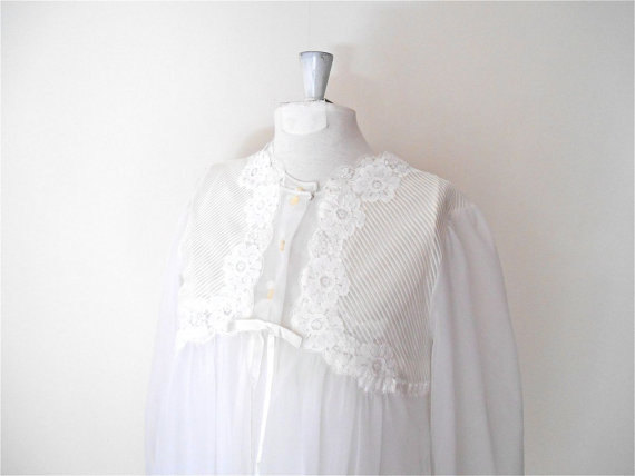 "Свадьба - Honeymoon Lingerie - White Peignoir Set - Gossard Artemis - Wedding Chiffon Bridal Lingerie - Vintage 60s Womens 34"" Bust Size Medium Sz 6"