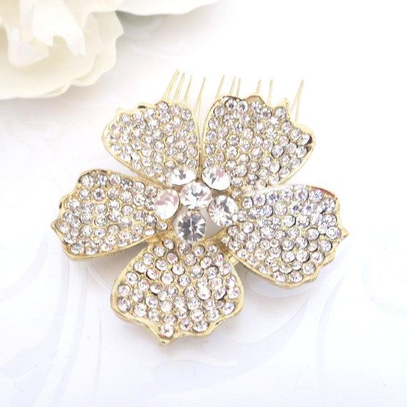 Wedding - Bridal hair comb, Rhinestone flower hair comb, Gold headpiece, Wedding head piece, Crystal hair comb, Flower headpiece, Vintage style