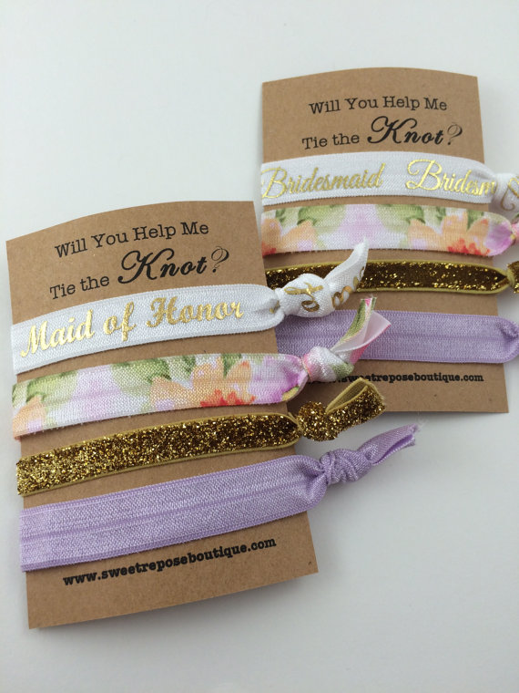 Wedding - Will you help me tie the knot, bridesmaids gifts, will you be my bridesmaid, bachelorette party favors, hair tie favors, FOE hair ties
