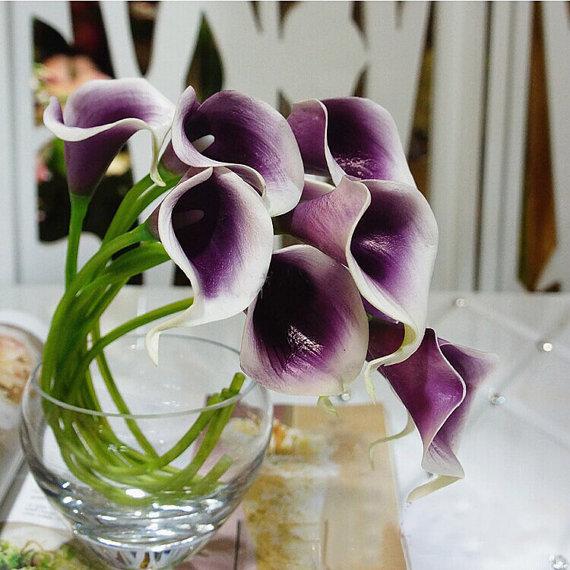 Hochzeit - 9pcs Real Touch Picasso Purple Calla Lily Bouquet  Purple Heart Calla Liles Bouquet Artificial Calla Lily Bridal Bouquet  Wedding Flowers