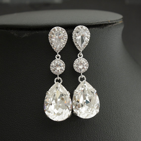 Wedding - Wedding Jewelry Bridal Earrings Cubic Zirconia with Teardrop Clear Swarovski Crystal Silver Posts Wedding Earrings