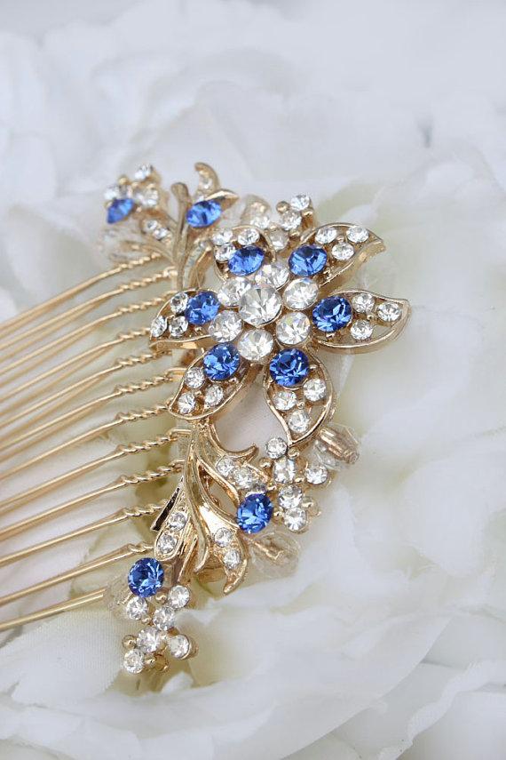 Wedding - Gold Hair Comb,Wedding Hair Comb,Bridal Hair Comb,Wedding Hair Accessories,Bridesmaid Hair Comb, Bridal Jewelry, Vintage Inspired Hair Comb