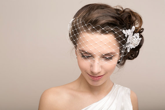Wedding - Bridal petite bandeau veil with floral lace and rhinestone, wedding veil