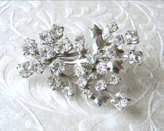 Wedding - 1960s Rhinestone Brooch Flower Bouquet Vintage Costume Jewelry Wedding Gown Sash Pin Bouquet Clip Bridal Accessory Ballroom Pageant Prom