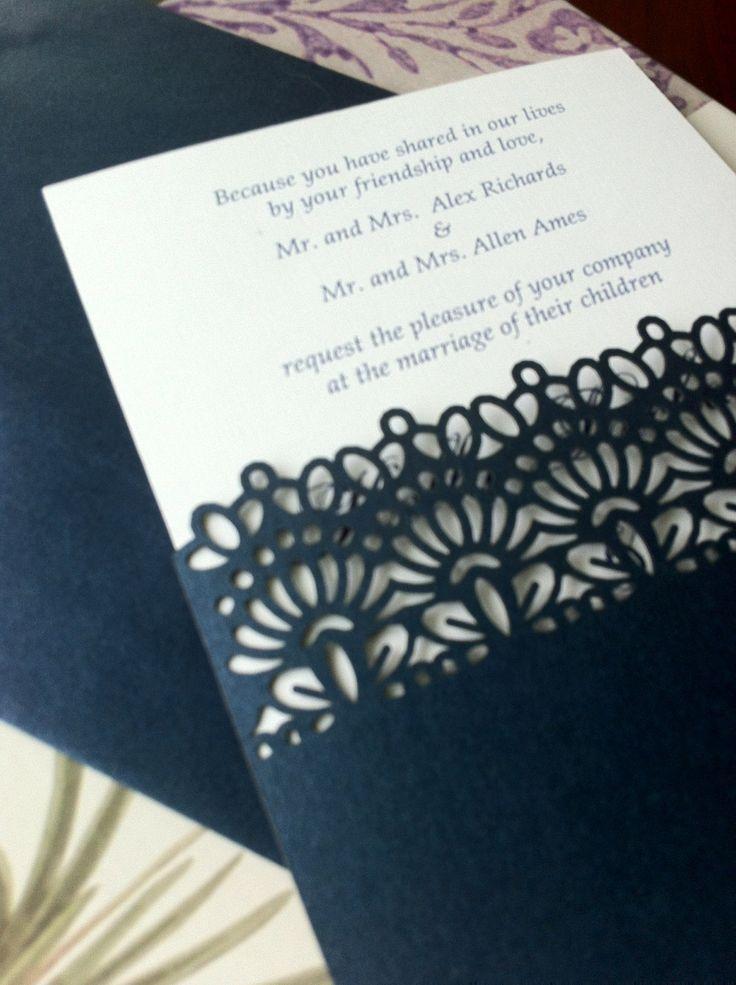 laser cut wedding invitations die cut wedding invitations With laser cut wedding invitation sleeve pocket