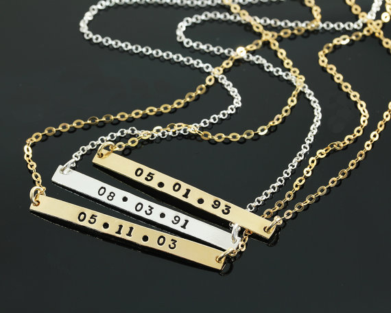 Wedding - Personalized Necklace, Gold Bar Necklace, Silver Personalized Jewelry. Birthday, Anniversary, Wedding, Graduation, Personalized Gift YL2018