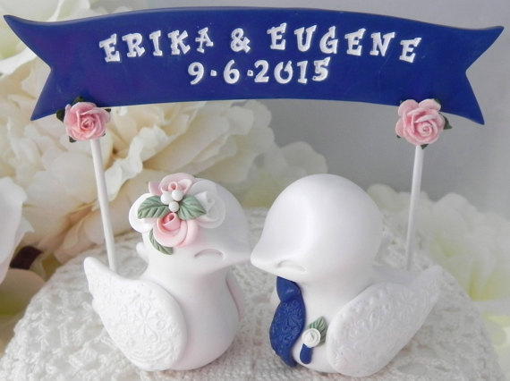 Wedding Cake Topper Love Birds White Pink And Navy Blue