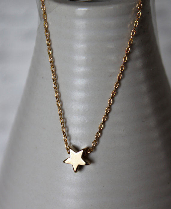 Wedding - Gold Star Necklace...Small Star Necklace...Tiny Gold Star Necklace bridesmaid wedding birthday gift